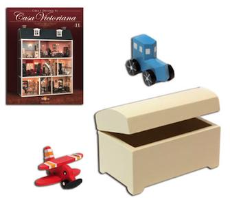 Fascículo 11 + Baúl infantil blanco + Avión de juguete + Coche de juguete