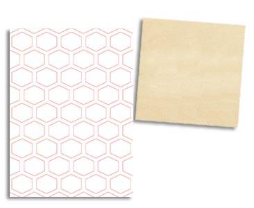 Fascículo 63 + Chalk Lino + stencil hexagonal + cuadrado de madera
