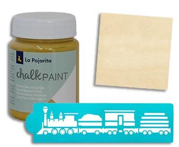 Fascículo 67 + Chalk Dijon + Stencil de tren + cuadrado de madera
