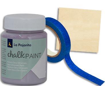 Fascículo 50 + Chalk Paint Violet + cinta de carrocero estrecha + cuadrado de madera