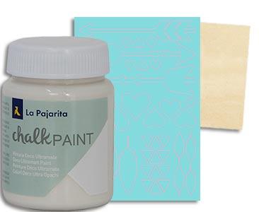 Fascículo 51 + Chalk Sweet Cream + stencil de formas variadas + cuadrado de madera