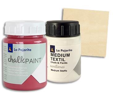 Fascículo 57 + Chalk Fresa boho + Medium Textil La Pajarita + cuadrado de madera