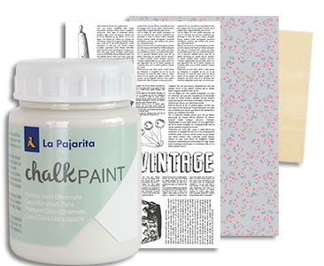 Fascículo 58 + Chalk Sal Ibiza + papel de découpage con motivos de periódico + cuadrado de madera
