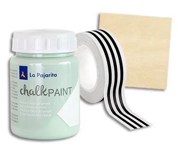 Fascículo 59 + Chalk Mint + washi tape de rayas + cuadrado de madera