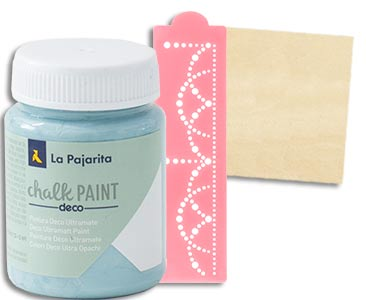Fascículo 40 + Chalk Paint Pacific Island + stencil con cenefa + cuadrado de madera