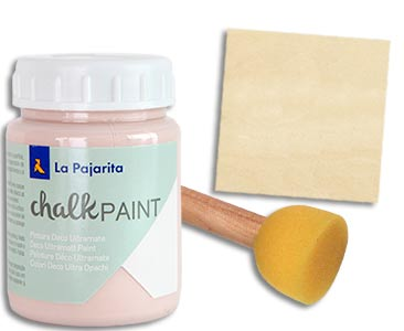 Fascículo 49 + Chalk Paint Rosa capricho + esponja de estarcido + cuadrado de madera