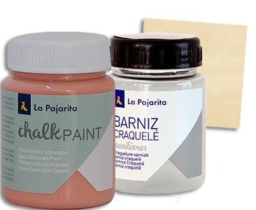 Fascículo 43 + Chalk Paint Peach + barniz craquelé + cuadrado de madera
