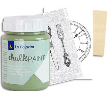 Fascículo 46 + Chalk Paint Verde bambú + láminas para Foto Transfer + cuadrado de madera
