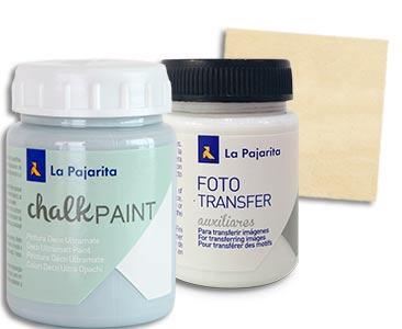 Fascículo 47 + Chalk Paint Azul cristal + cola para Foto Transfer + cuadrado de madera