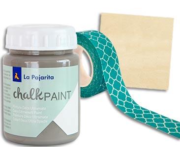 Fascículo 48 + Chalk Paint Vintage + washi tape + cuadrado de madera