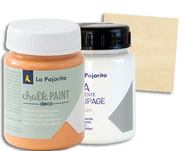 Fascículo 38 + Chalk Paint Sunset + cola de découpage + cuadrado de madera