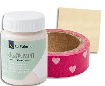 Fascículo 39 + Chalk Paint Nude + washi tape de corazones + cuadrado de madera