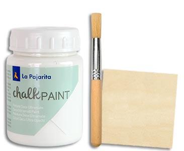 Fascículo 31 + Chalk Paint Blanco nube + pincel para stencil + cuadrado de madera