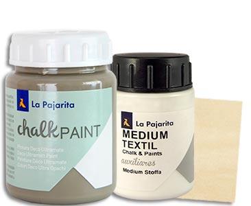 Fascículo 34 + Chalk Paint New York + medium textil + cuadrado de madera