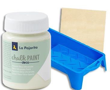 Fascículo 36 + Chalk Paint Apple Green + bandeja para rodillo + cuadrado de madera