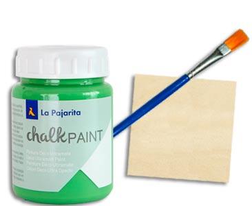 Fascículo 27 + Chalk Paint Albahaca + pincel plano + cuadrado de madera
