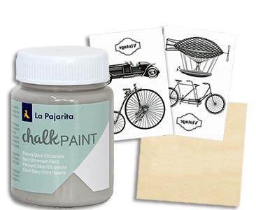 Fascículo 28 + Chalk Paint London grey + 2 láminas para Foto Transfer + cuadrado de madera