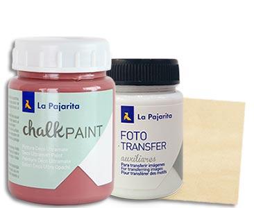 Fascículo 29 + Chalk Paint Hippy chic + cola para Foto Transfer + cuadrado de madera