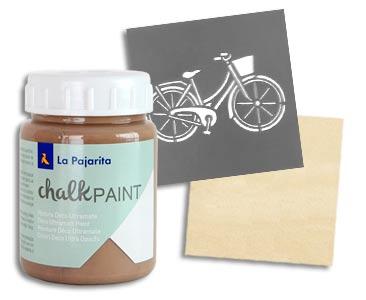 Fascículo 23 + Chalk Paint Marrón Eiffel + stencil de bicicleta + cuadrado de madera