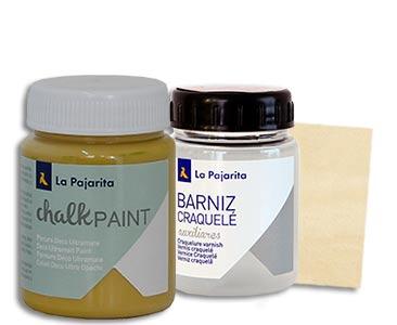 Fascículo 24 + Chalk Paint Dijon + barniz craquelé + cuadrado de madera