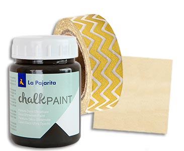Fascículo 26 + Chalk Paint Casi negro + washi tape dorada + cuadrado de madera