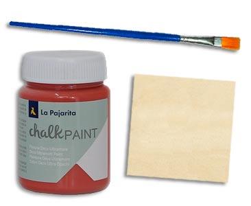 Fascículo 17 + Chalk Paint Marsala + pincel plano + cuadrado de madera
