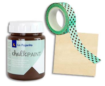 Fascículo 18 + Chalk Paint Marrón glacé + washi tape de estrellas + cuadrado de madera