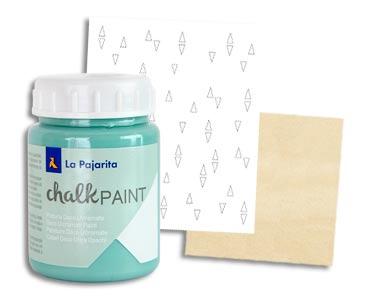 Fascículo 19 + Chalk Paint Verde hielo + plantilla de cartón + cuadrado de madera