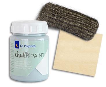 Fascículo 11 + Chalk Paint Azul Cristal + estropajo + cuadrado de madera