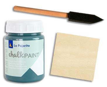 Fascículo 14 + Chalk Paint Midnight blue + brocha de espuma + cuadrado de madera