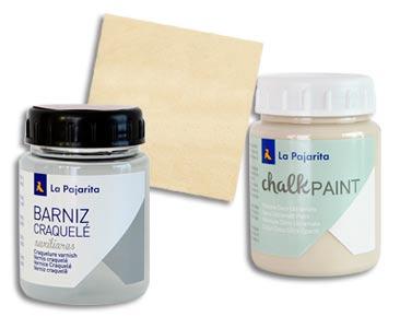 Fascículo 7 + Chalk Paint Beige Antiguo + barniz craquelé + cuadrado de madera