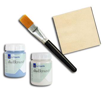 Fascículo 1 + Chalk Paint Azul Horizonte + Chalk Paint Sal de Ibiza + pincel + cuadrado de madera