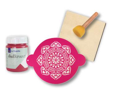 Fascículo 2 + Chalk Paint Fresa Boho + stencil moroccan + pincel esponja + cuadrado de madera