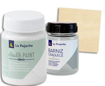 Fascículo 84 + pintura White cotton + barniz craquelé + cuadrado de madera