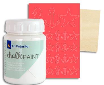Fascículo 74 + pintura Blanco nube + adhesivos con motivos marineros + cuadrado de madera