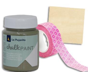 Fascículo 75 + pintura Agave + washi tape + cuadrado de madera