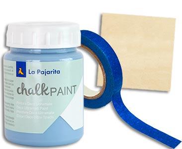 Fascículo 86 + pintura Azul horizonte + cinta de carrocero estrecha + cuadrado de madera