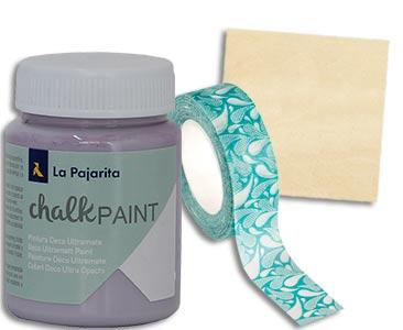 Fascículo 91 + pintura Violet + washi tape + cuadrado de madera