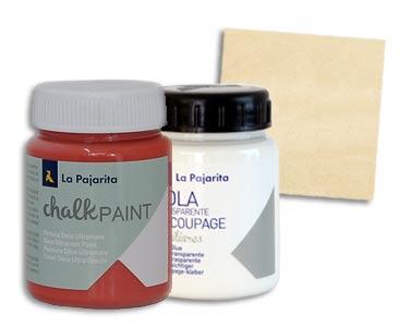 Fascículo 93 + pintura Marsala + cola de découpage + cuadrado de madera