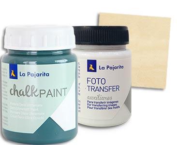 Fascículo 98 + pintura Midnight blue + cola para Foto Transfer + cuadrado de madera