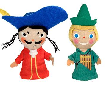 Libro Peter Pan + los títeres del Peter Pan y del Capitán Garfio