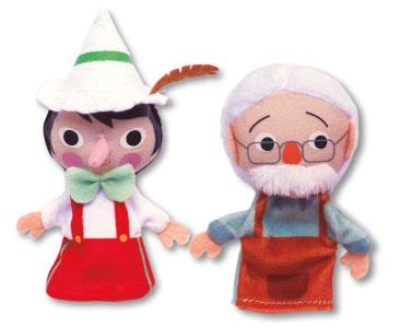 Libro Pinocho + los títeres de Pinocho y Geppetto
