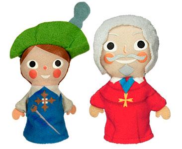 Los tres mosqueteros + los títeres de D'Artagnan y de Richelieu