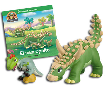 Libro 19: El sauropelta + Sauropelta mamá + Velociraptor bebé
