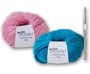 Fascicule 3 + la pelote berry blue + la pelote candyfloss pink + crochet 6mm