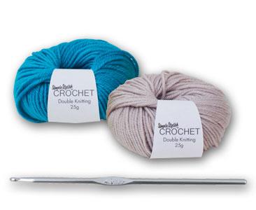 Fascicule 1 + la pelote bleu curaçao + la pelote gris glacier + crochet 4 mm