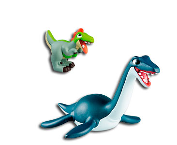Le livret 18 : Le plésiosaure + Le papa plésiosaure + Le bébé velociraptor