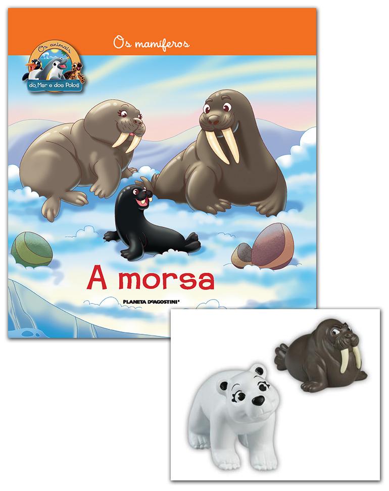 Livro + Conjunto de Figuras: Bebé Urso Polar + Morsa papá