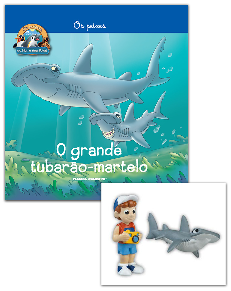 Livro + Conjunto de Figuras: Mamã Tubarão-martelo + Menino