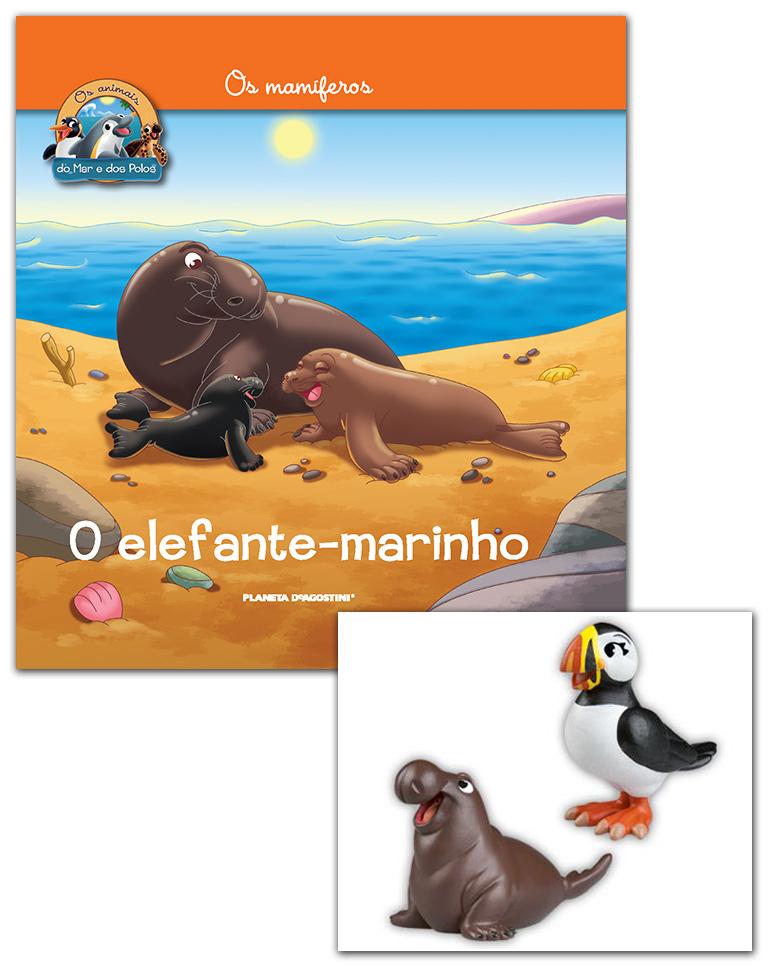 Livro + Conjunto de Figuras: Papá Elefante marinho + Mamã puffin